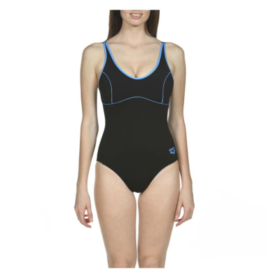 WTANIA CLIP BACK ONE PIECE BLACK-TURQUOISE